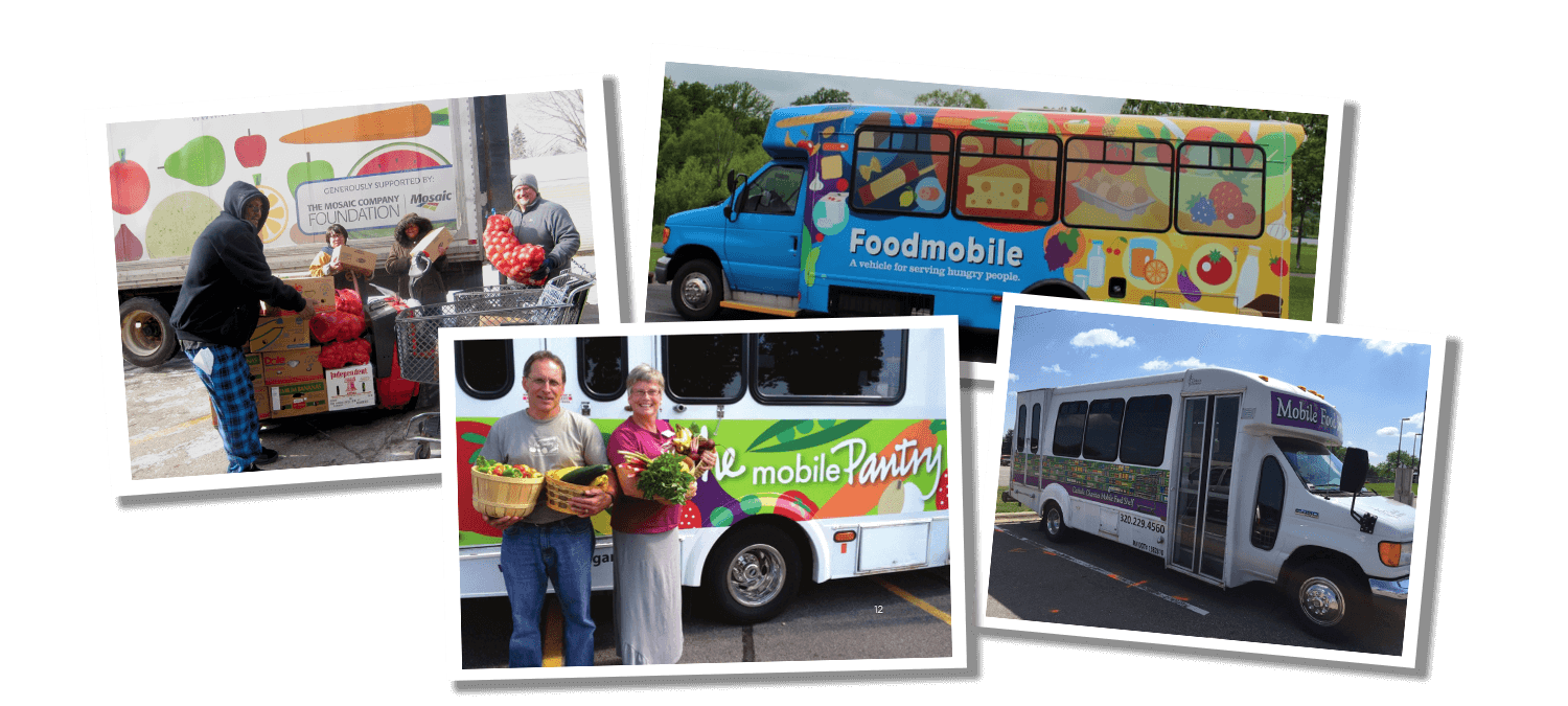 Collage of photos from mobile food shelves in Minnesota. 4 photos total. Each features either the delivery truck or small buses with colorful food graphics.